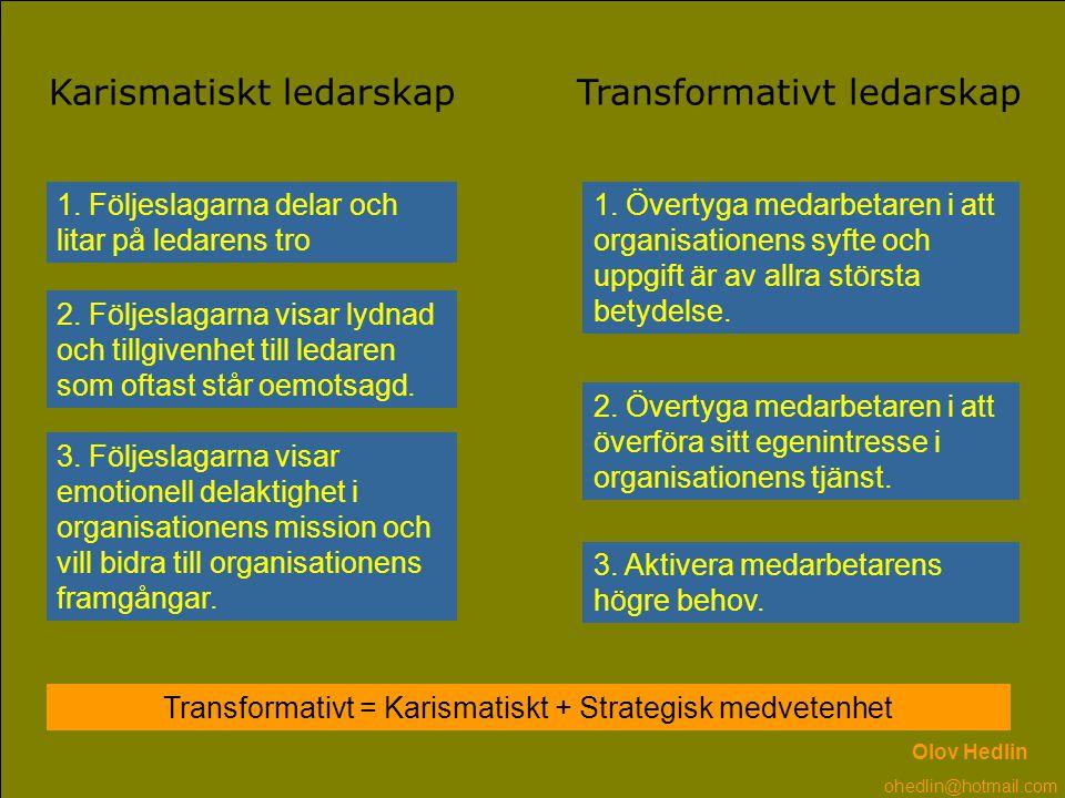 Transformativt = Karismatiskt + Strategisk medvetenhet