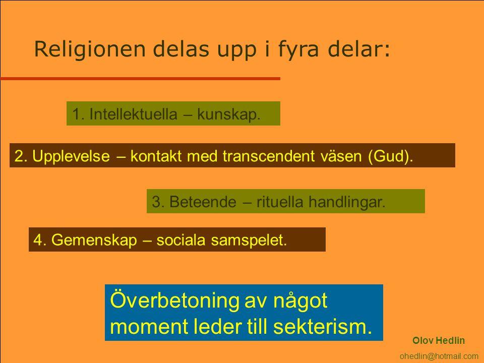 Religionen delas upp i fyra delar: