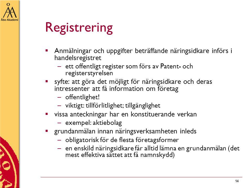 Registrering Anmälningar och uppgifter beträffande näringsidkare införs i handelsregistret.