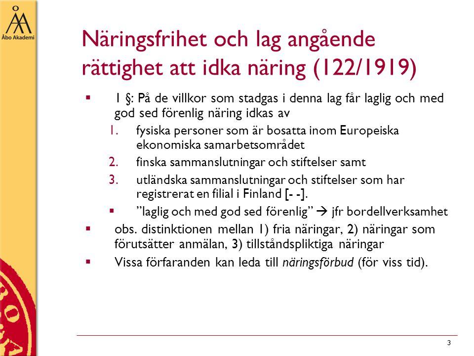 Näringsfrihet och lag angående rättighet att idka näring (122/1919)