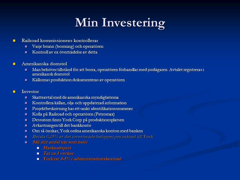 Min Investering Railroad kommissionens kontrollerar