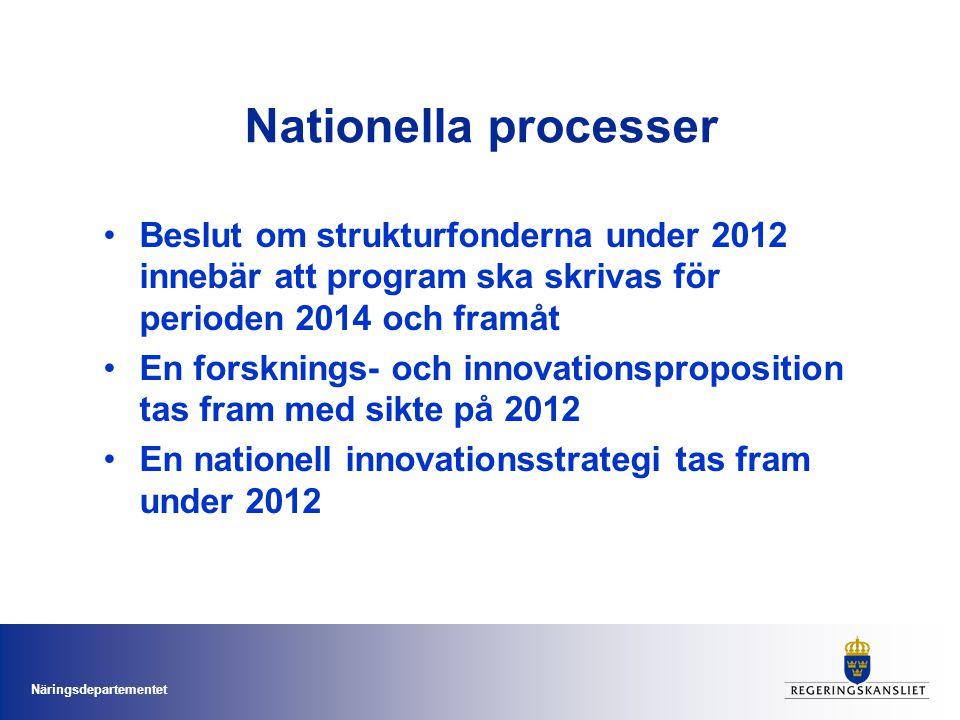 Nationella processer Beslut om strukturfonderna under 2012 innebär att program ska skrivas för perioden 2014 och framåt.