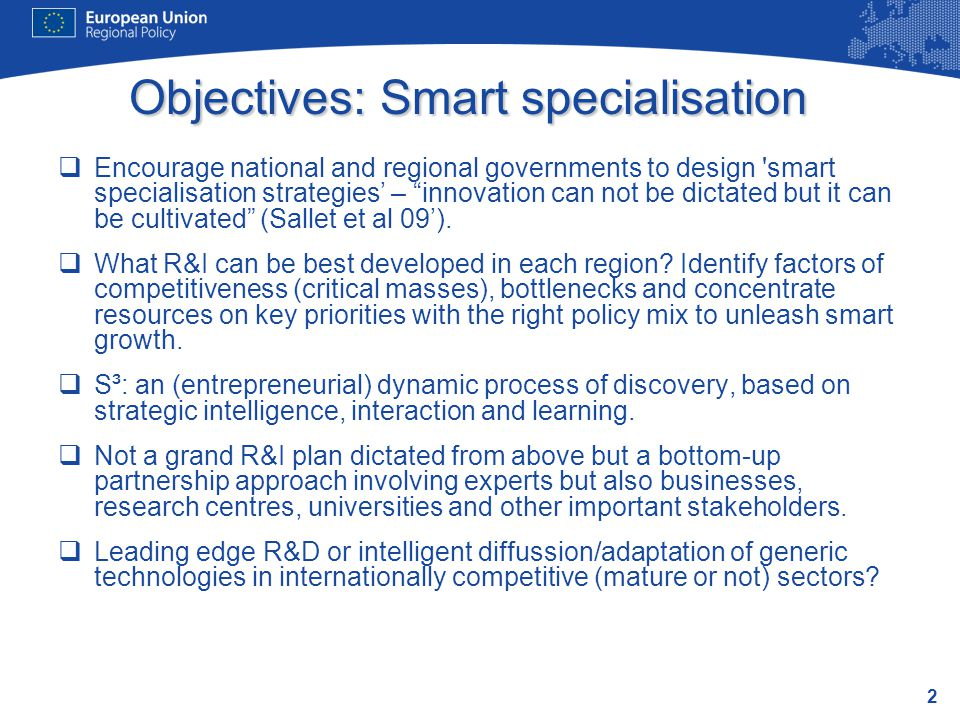 Objectives: Smart specialisation