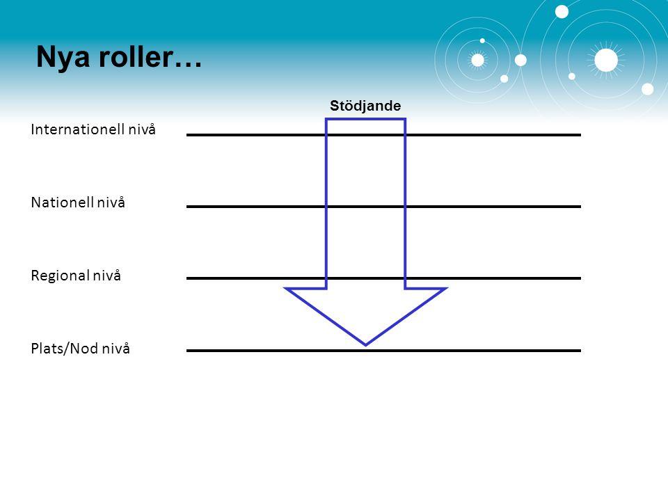 Nya roller… Internationell nivå Nationell nivå Regional nivå