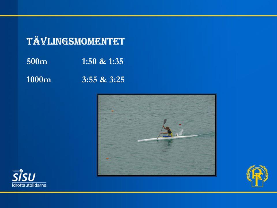 Tävlingsmomentet 500m 1:50 & 1:35 1000m 3:55 & 3:25