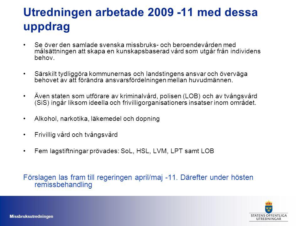 Utredningen arbetade 2009 -11 med dessa uppdrag