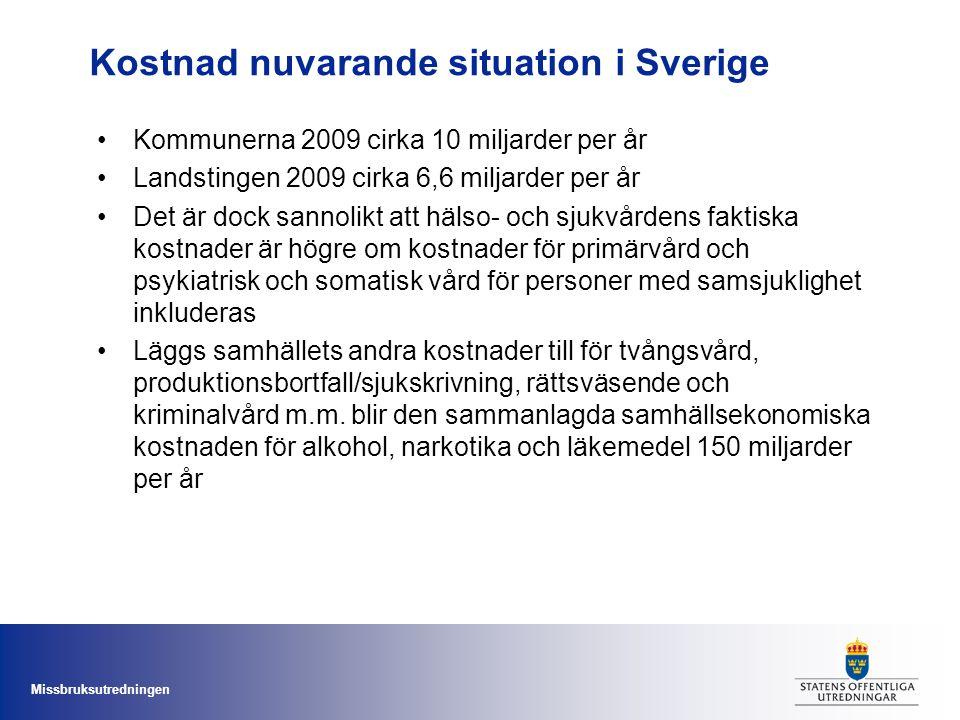 Kostnad nuvarande situation i Sverige