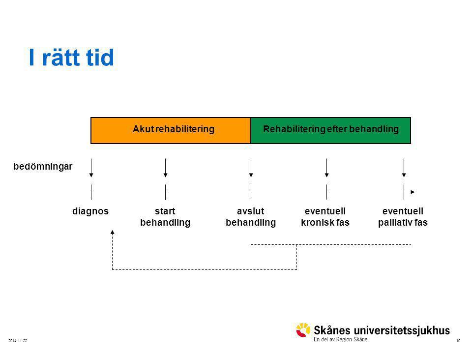 I rätt tid bedömningar diagnos start behandling avslut eventuell