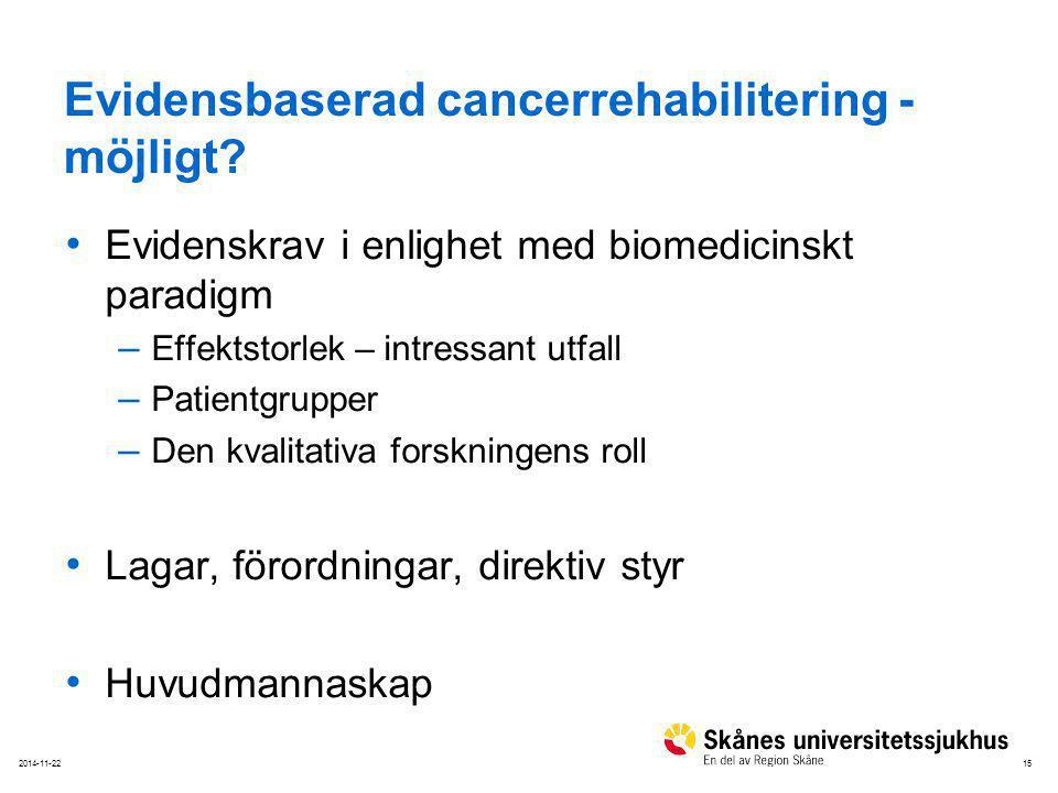 Evidensbaserad cancerrehabilitering - möjligt