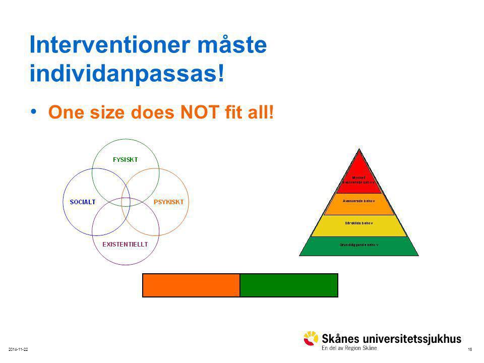 Interventioner måste individanpassas!