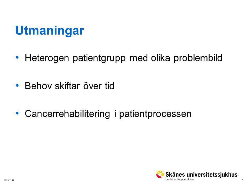 Utmaningar Heterogen patientgrupp med olika problembild