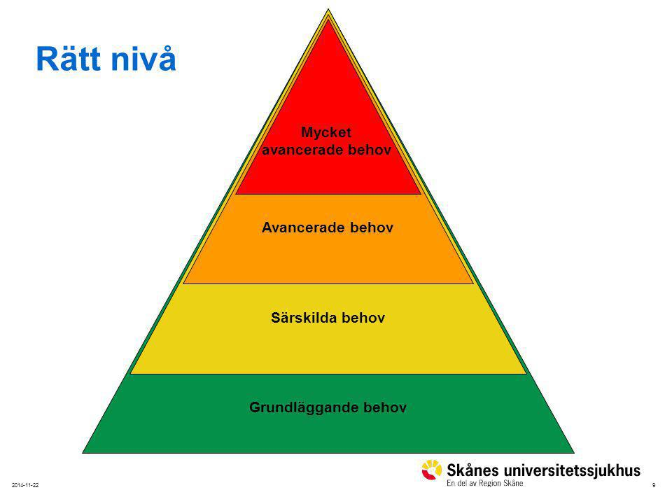 Rätt nivå Mycket avancerade behov Avancerade behov Särskilda behov