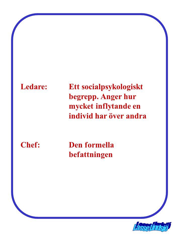 Ledare:. Ett socialpsykologiskt. begrepp. Anger hur