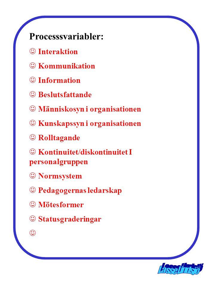 Processsvariabler: Interaktion Kommunikation Information