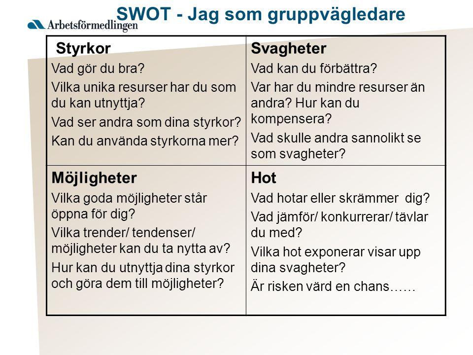 SWOT - Jag som gruppvägledare