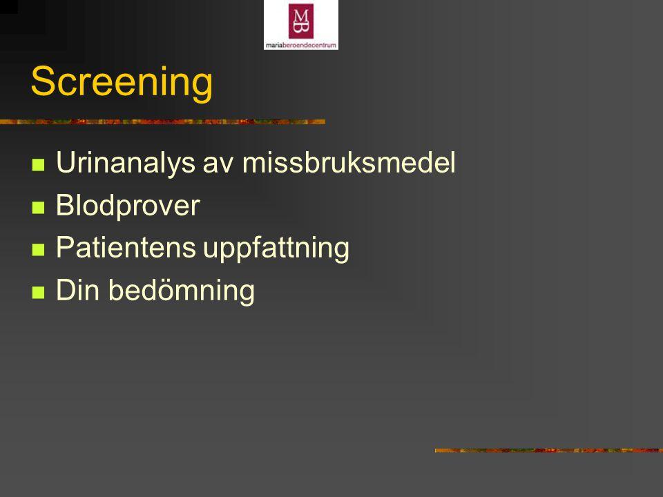 Screening Urinanalys av missbruksmedel Blodprover