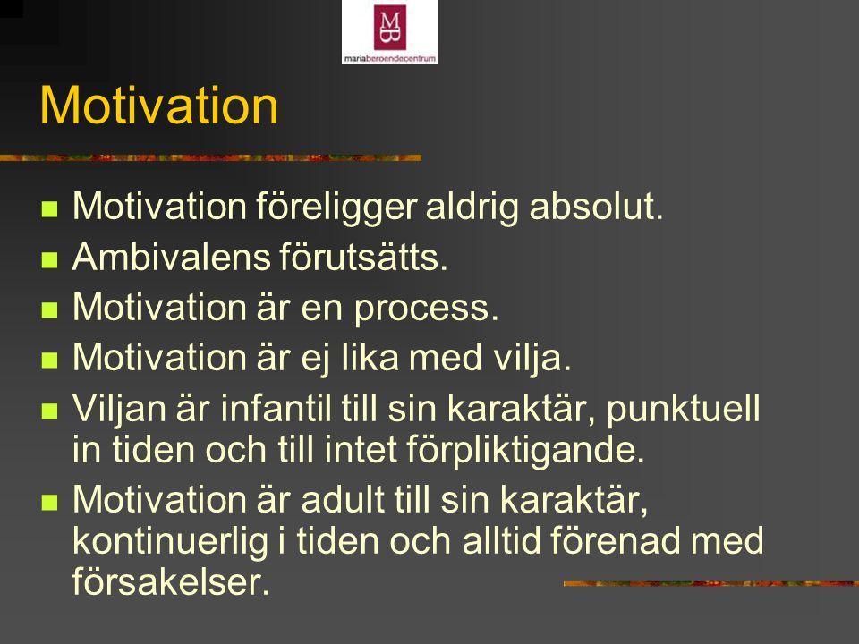 Motivation Motivation föreligger aldrig absolut.