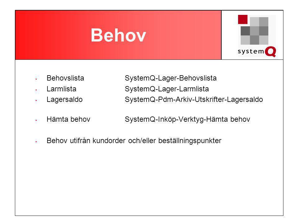 Behov Behovslista SystemQ-Lager-Behovslista