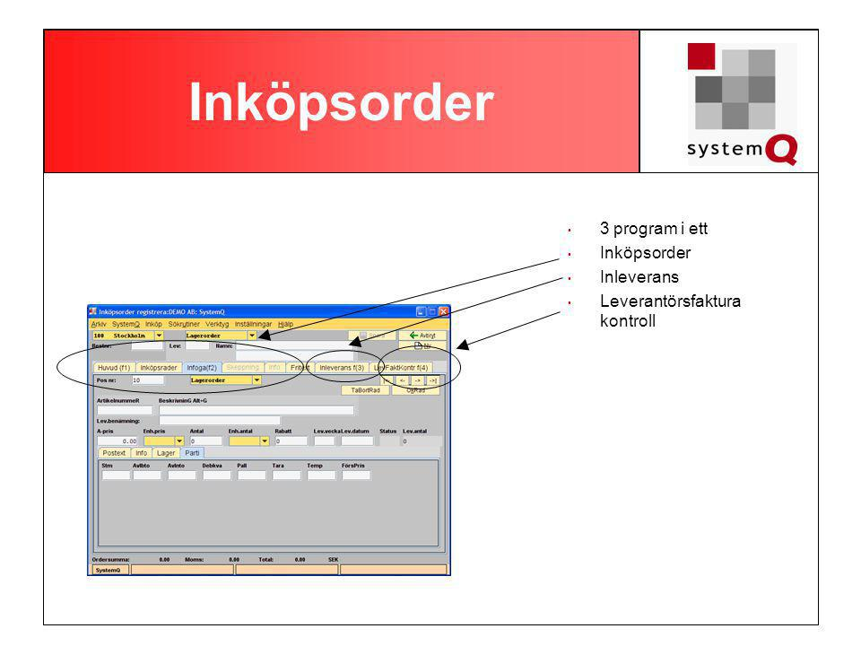 Inköpsorder 3 program i ett Inköpsorder Inleverans