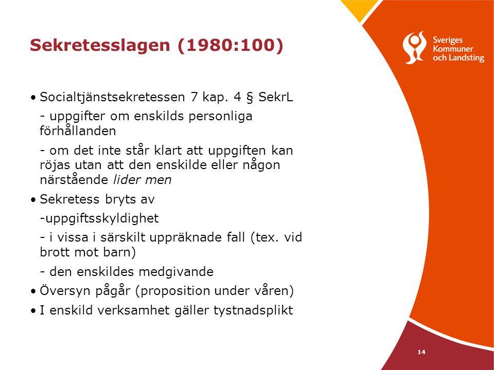 Sekretesslagen (1980:100) Socialtjänstsekretessen 7 kap. 4 § SekrL