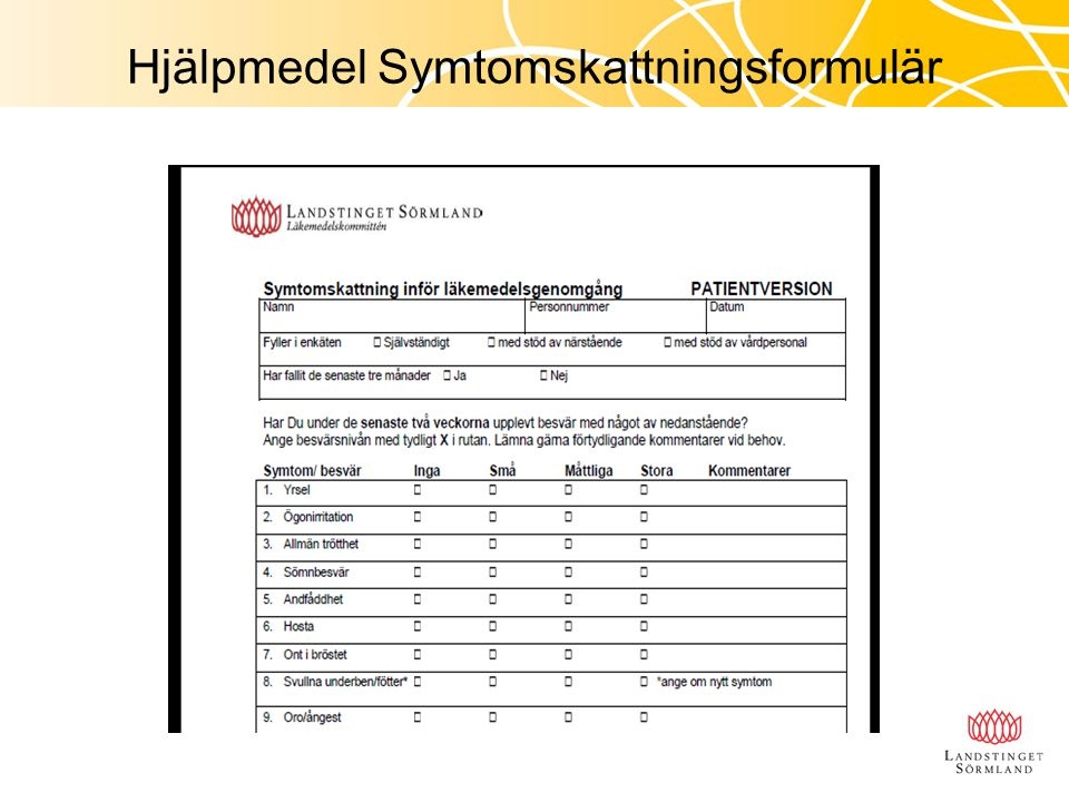 Hjälpmedel Symtomskattningsformulär