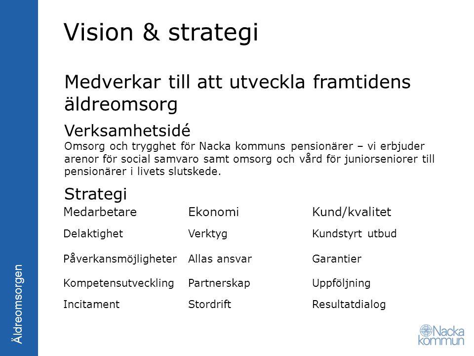 Vision & strategi Medverkar till att utveckla framtidens äldreomsorg