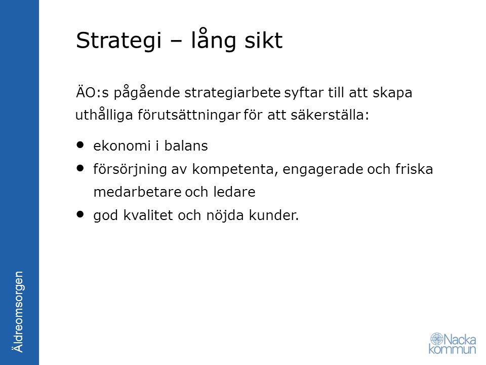 Strategi – lång sikt ÄO:s pågående strategiarbete syftar till att skapa uthålliga förutsättningar för att säkerställa:
