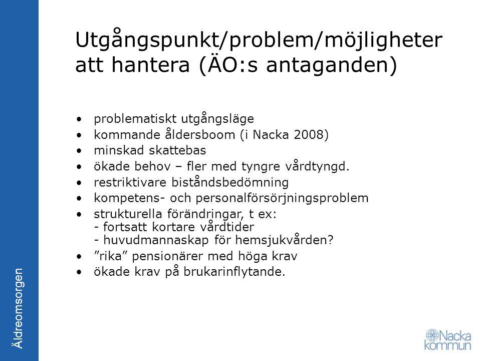 Utgångspunkt/problem/möjligheter att hantera (ÄO:s antaganden)