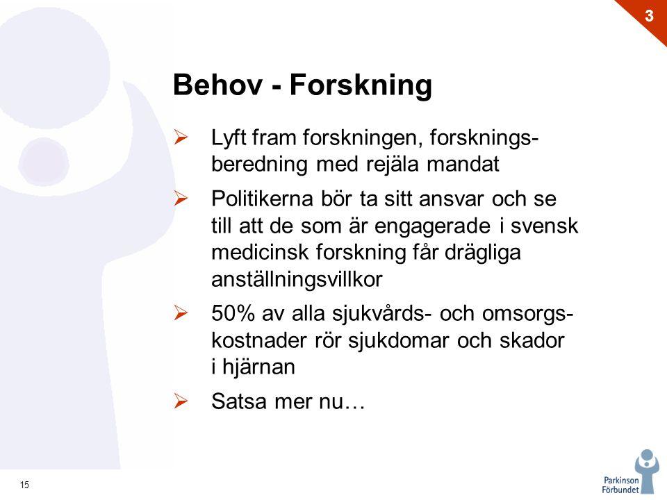 Behov - Forskning Lyft fram forskningen, forsknings- beredning med rejäla mandat.