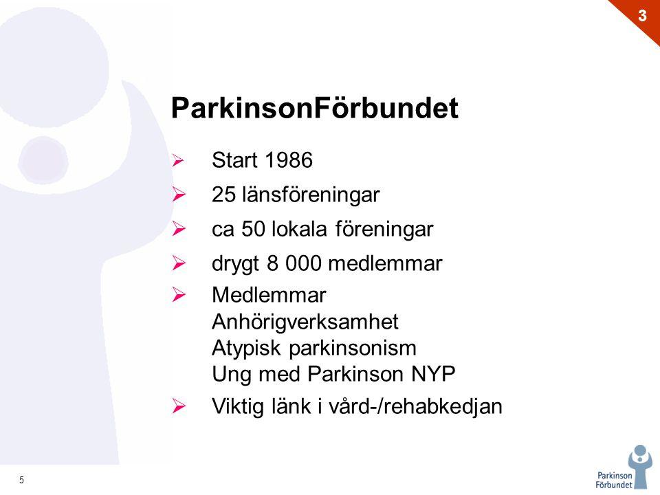 ParkinsonFörbundet 25 länsföreningar ca 50 lokala föreningar