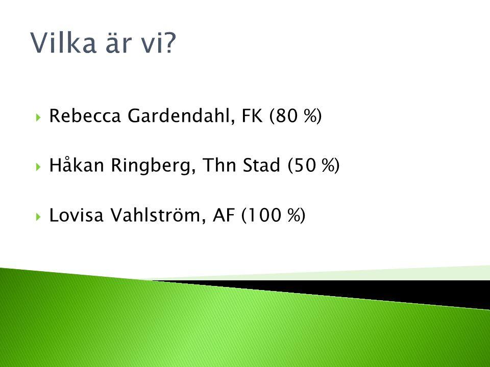 Vilka är vi Rebecca Gardendahl, FK (80 %)