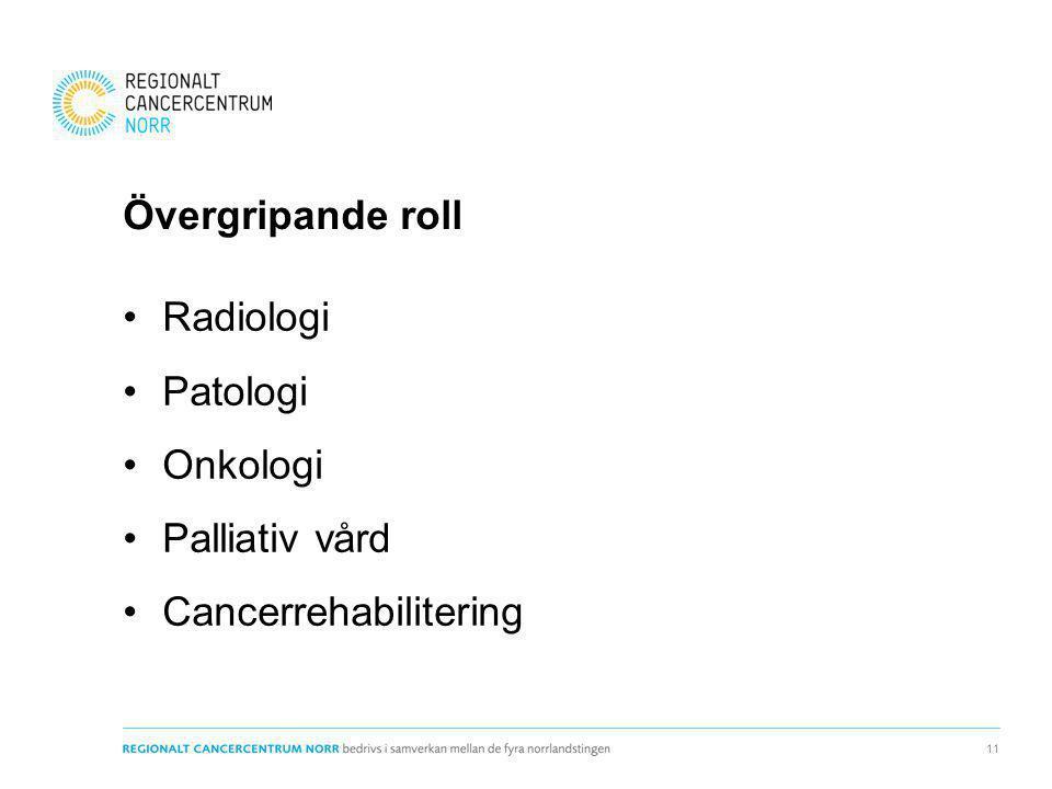 Övergripande roll Radiologi Patologi Onkologi Palliativ vård Cancerrehabilitering