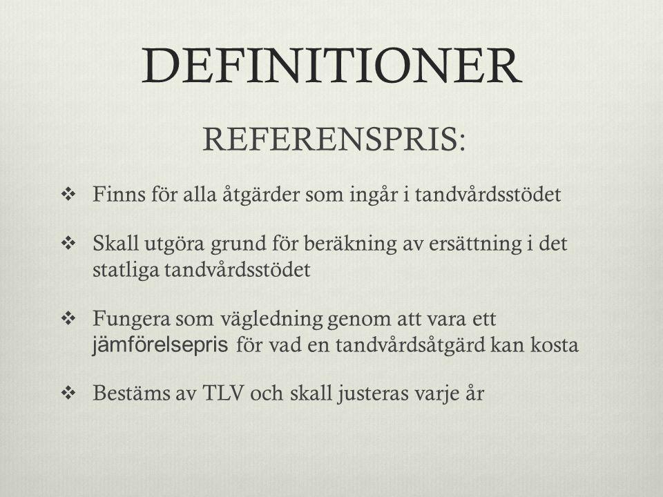 DEFINITIONER REFERENSPRIS: