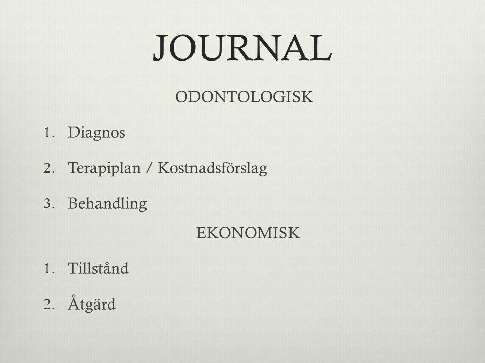JOURNAL ODONTOLOGISK Diagnos Terapiplan / Kostnadsförslag Behandling