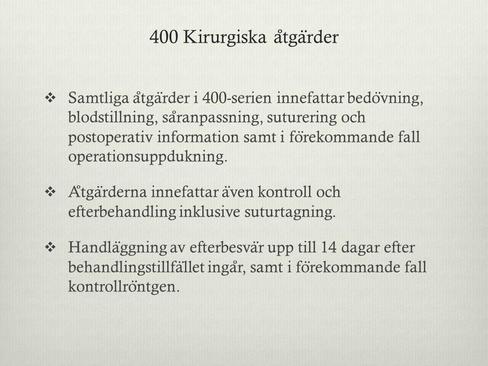 400 Kirurgiska åtgärder
