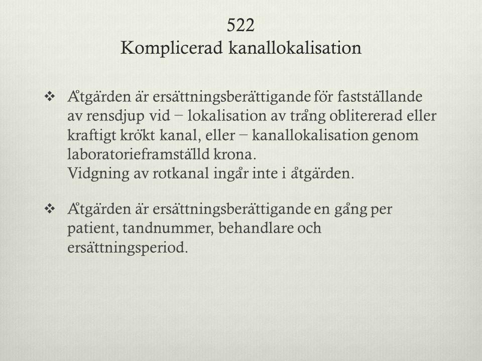 522 Komplicerad kanallokalisation
