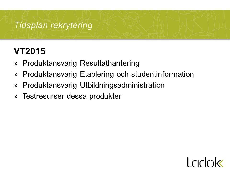 Tidsplan rekrytering VT2015 Produktansvarig Resultathantering