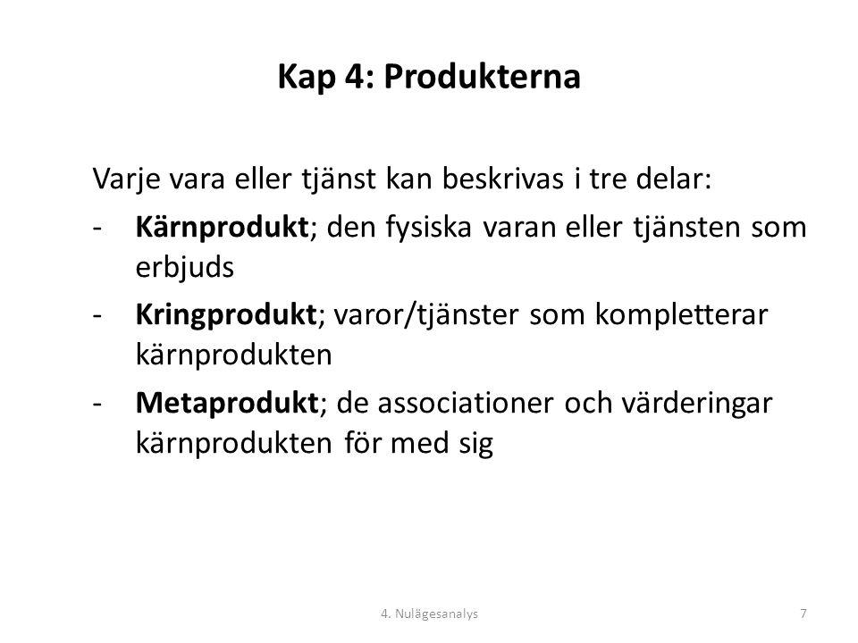 Kap 4: Produkterna Varje vara eller tjänst kan beskrivas i tre delar: