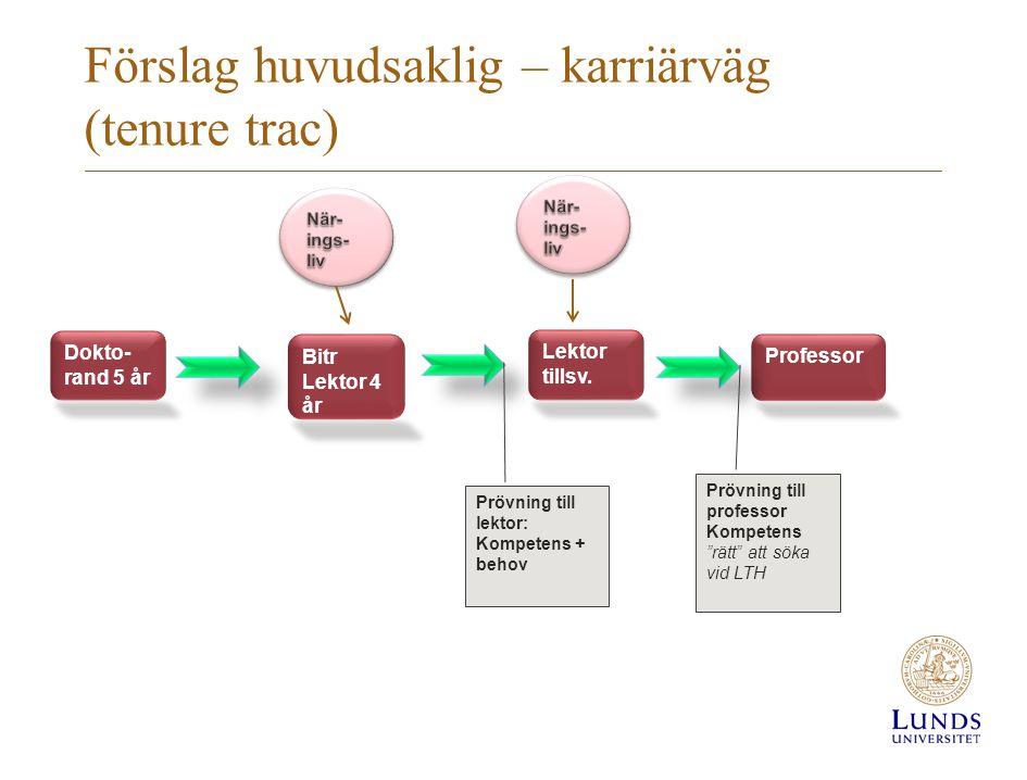 Förslag huvudsaklig – karriärväg (tenure trac)