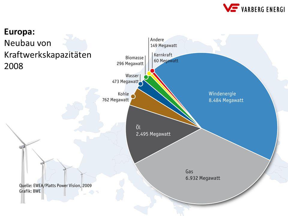 Europa: Neubau von Kraftwerkskapazitäten 2008