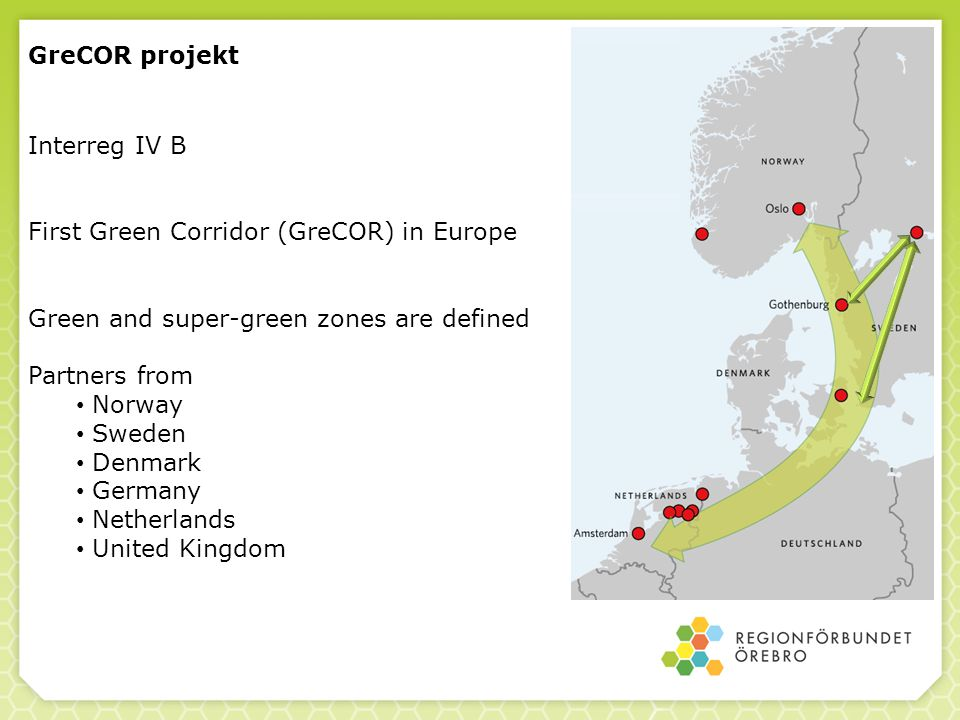 GreCOR projekt Interreg IV B. First Green Corridor (GreCOR) in Europe. Green and super-green zones are defined.