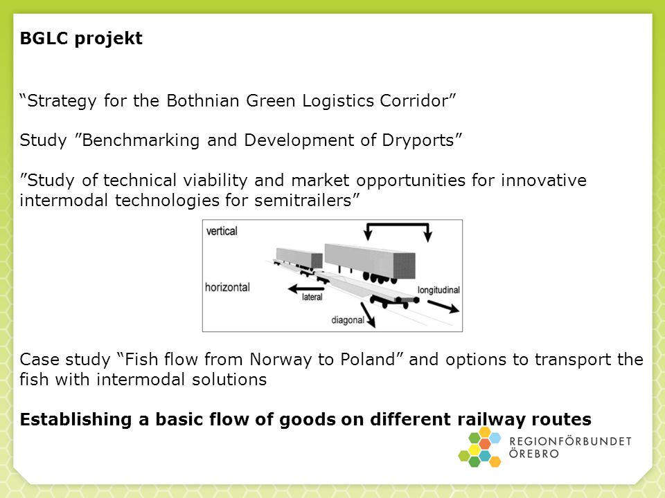 BGLC projekt Strategy for the Bothnian Green Logistics Corridor Study Benchmarking and Development of Dryports