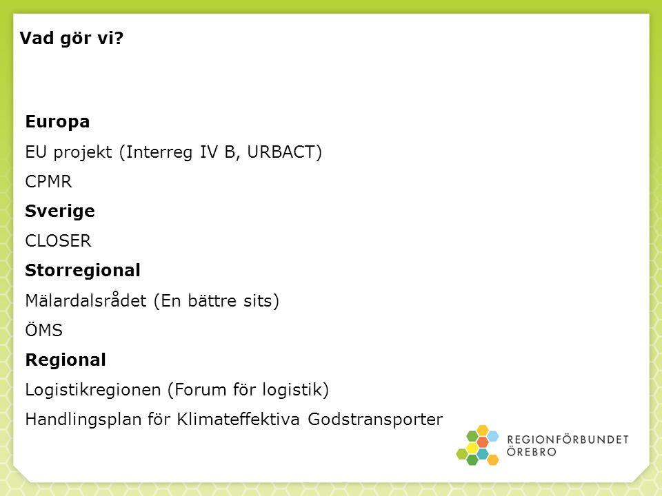 Vad gör vi Europa. EU projekt (Interreg IV B, URBACT) CPMR. Sverige. CLOSER. Storregional. Mälardalsrådet (En bättre sits)