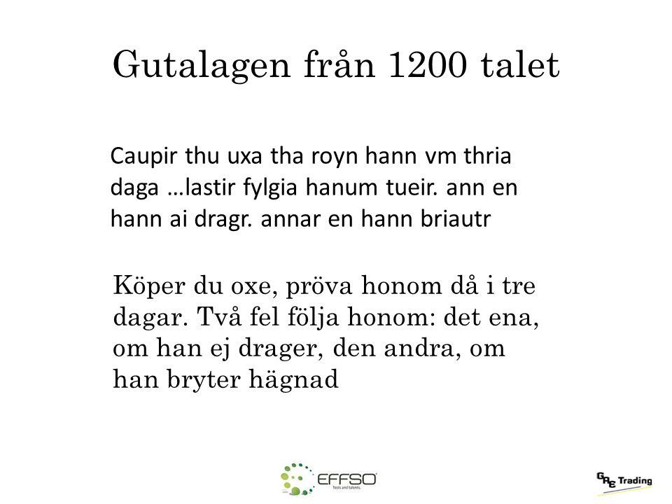 Gutalagen från 1200 talet Caupir thu uxa tha royn hann vm thria daga …lastir fylgia hanum tueir. ann en hann ai dragr. annar en hann briautr.
