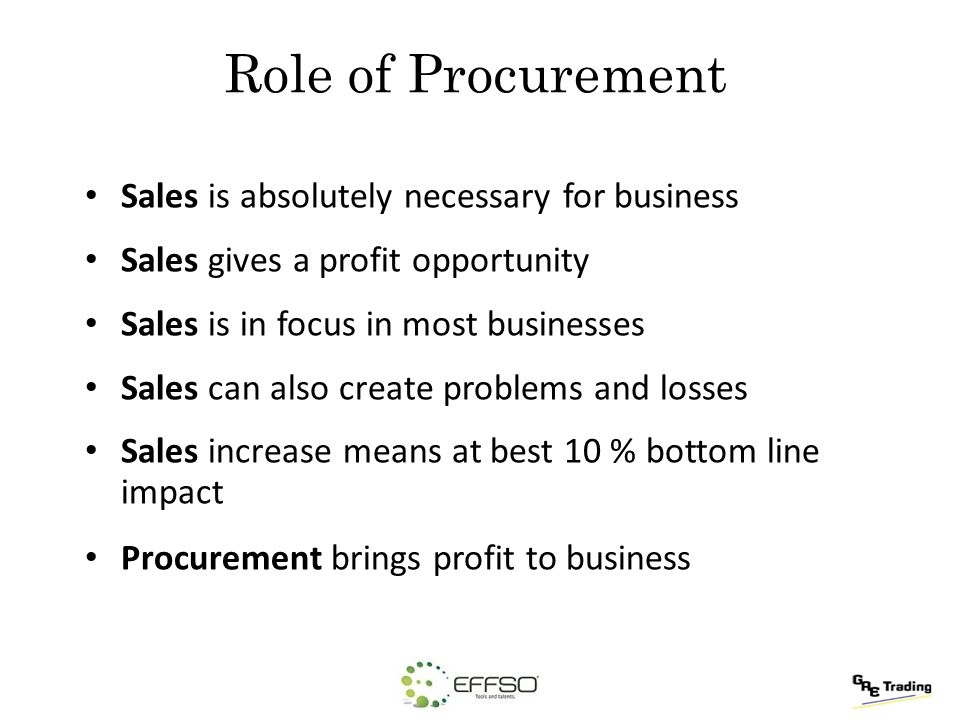 Role of Procurement Sales is absolutely necessary for business