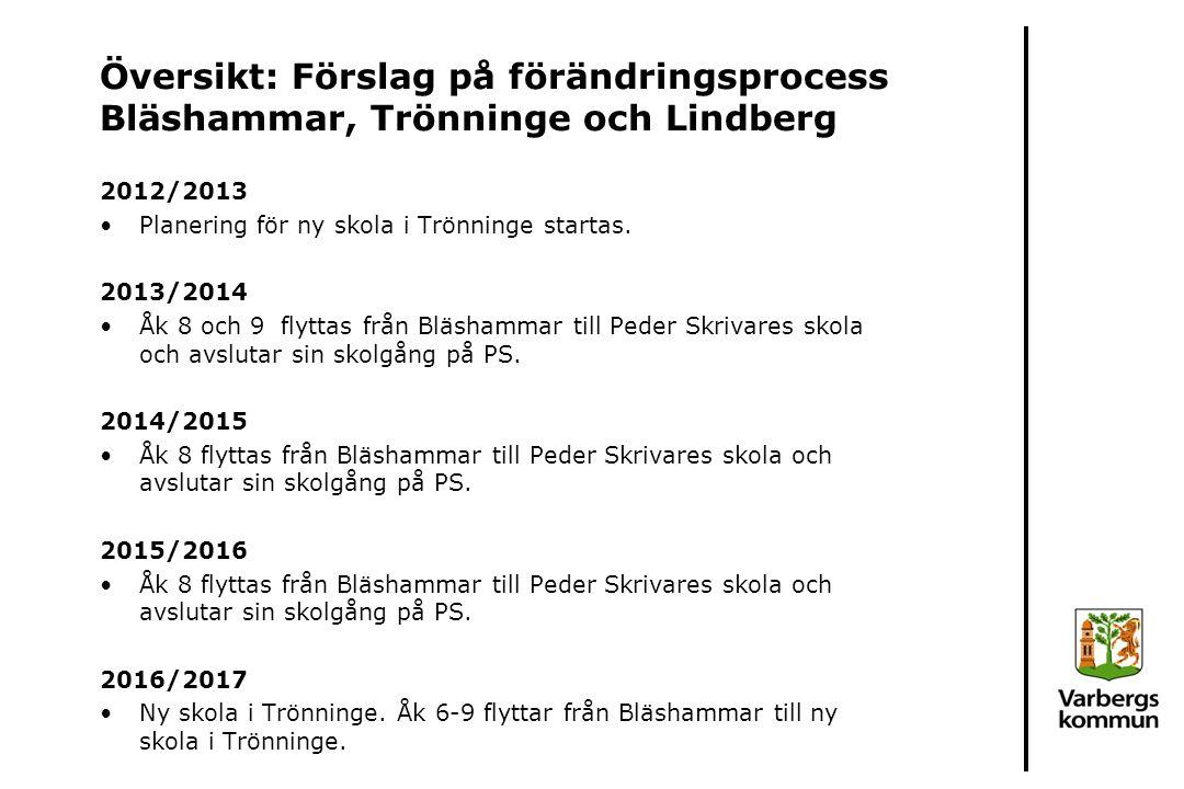 Översikt: Förslag på förändringsprocess Bläshammar, Trönninge och Lindberg
