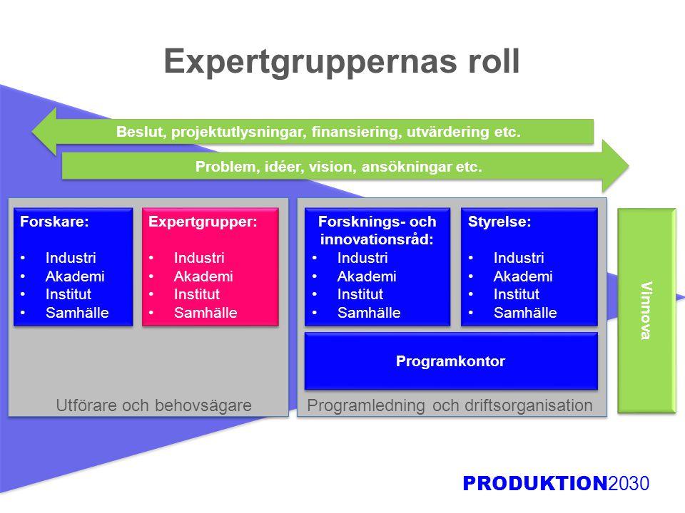 Expertgruppernas roll