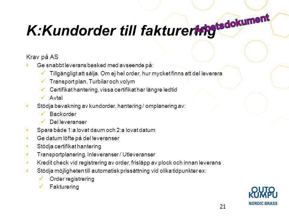 K:Kundorder till fakturering