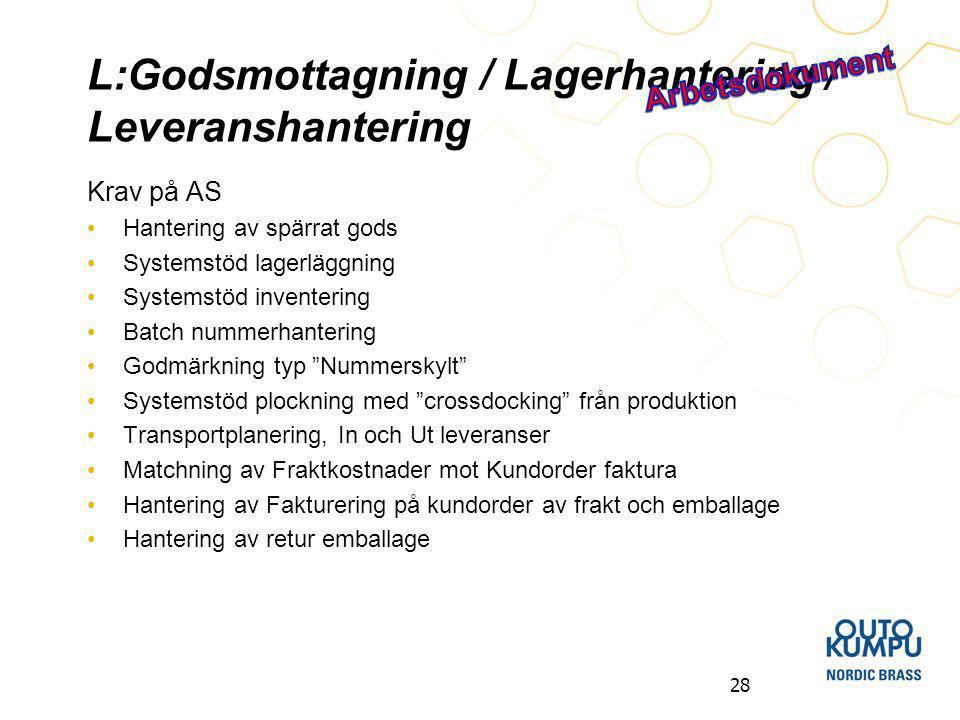 L:Godsmottagning / Lagerhantering / Leveranshantering