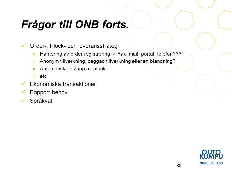 Frågor till ONB forts. Order-, Plock- och leveransstrategi